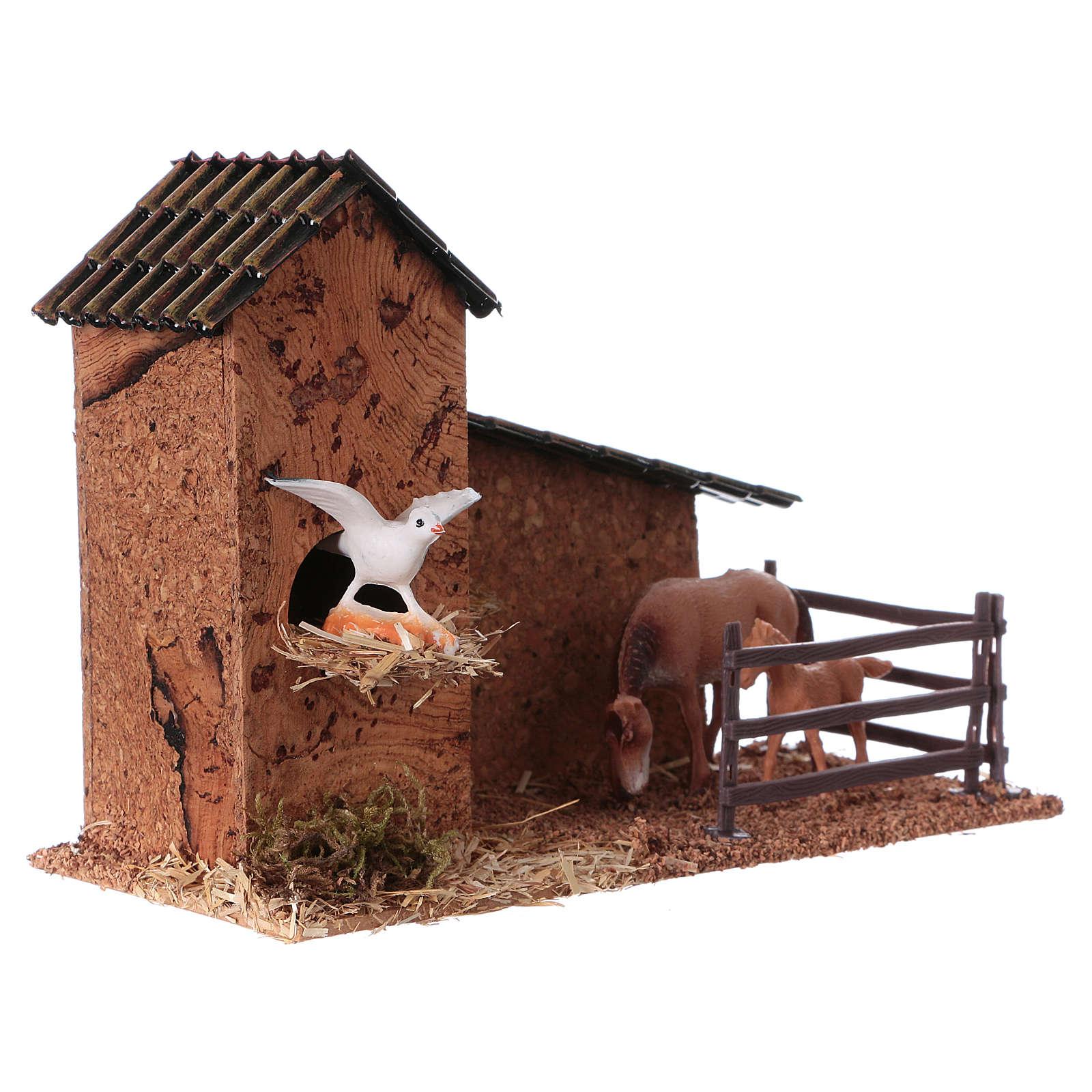 Recinto cavalli e piccionaia per presepi di 9 cm 3