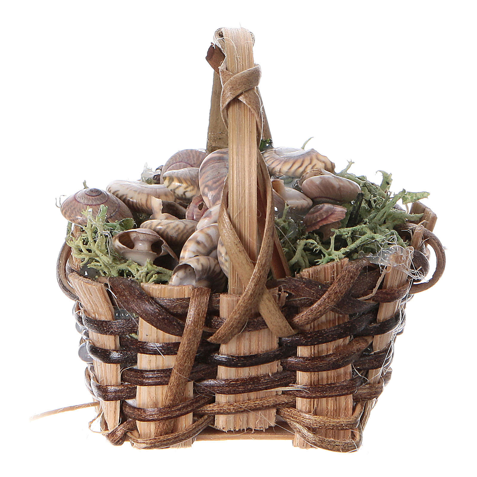 Basket with snails, for DIY nativity real h. 5 cm 4
