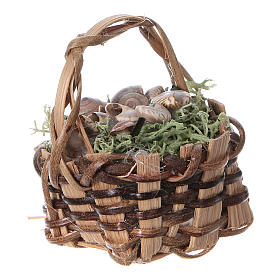 Basket with snails, for DIY nativity real h. 5 cm s2