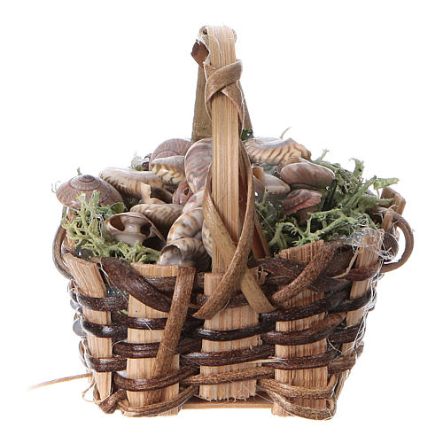 Basket with snails, for DIY nativity real h. 5 cm 1