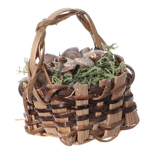 Basket with snails, for DIY nativity real h. 5 cm 2