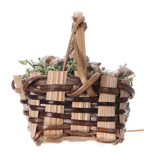 Basket with snails, for DIY nativity real h. 5 cm 3