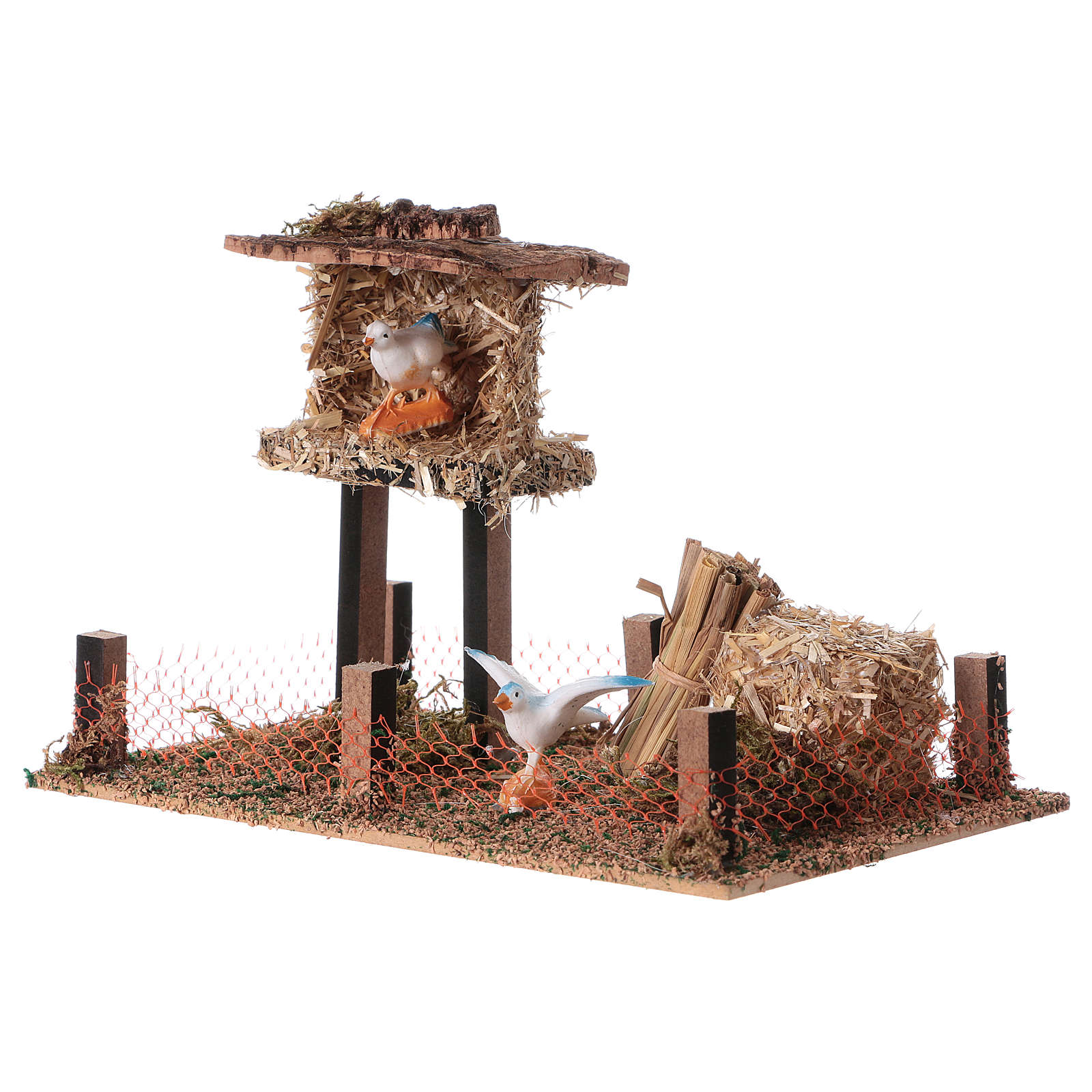 Cork bird house with hay 10x20x10 cm 3