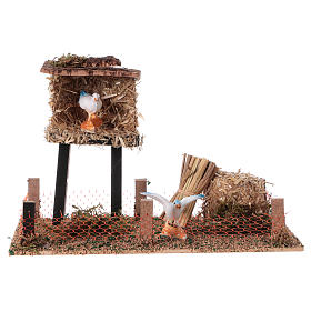 Cork bird house with hay 10x20x10 cm s1