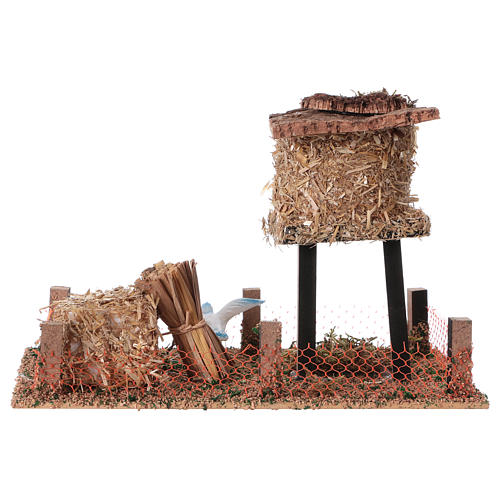 Cork bird house with hay 10x20x10 cm 4