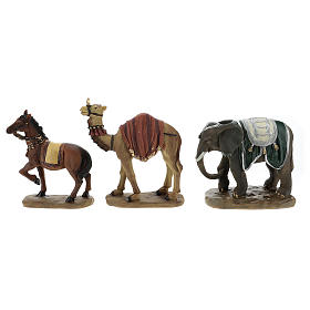 Set of camel, elephant and horse in resin for Nativity scenes of 11 cm s1