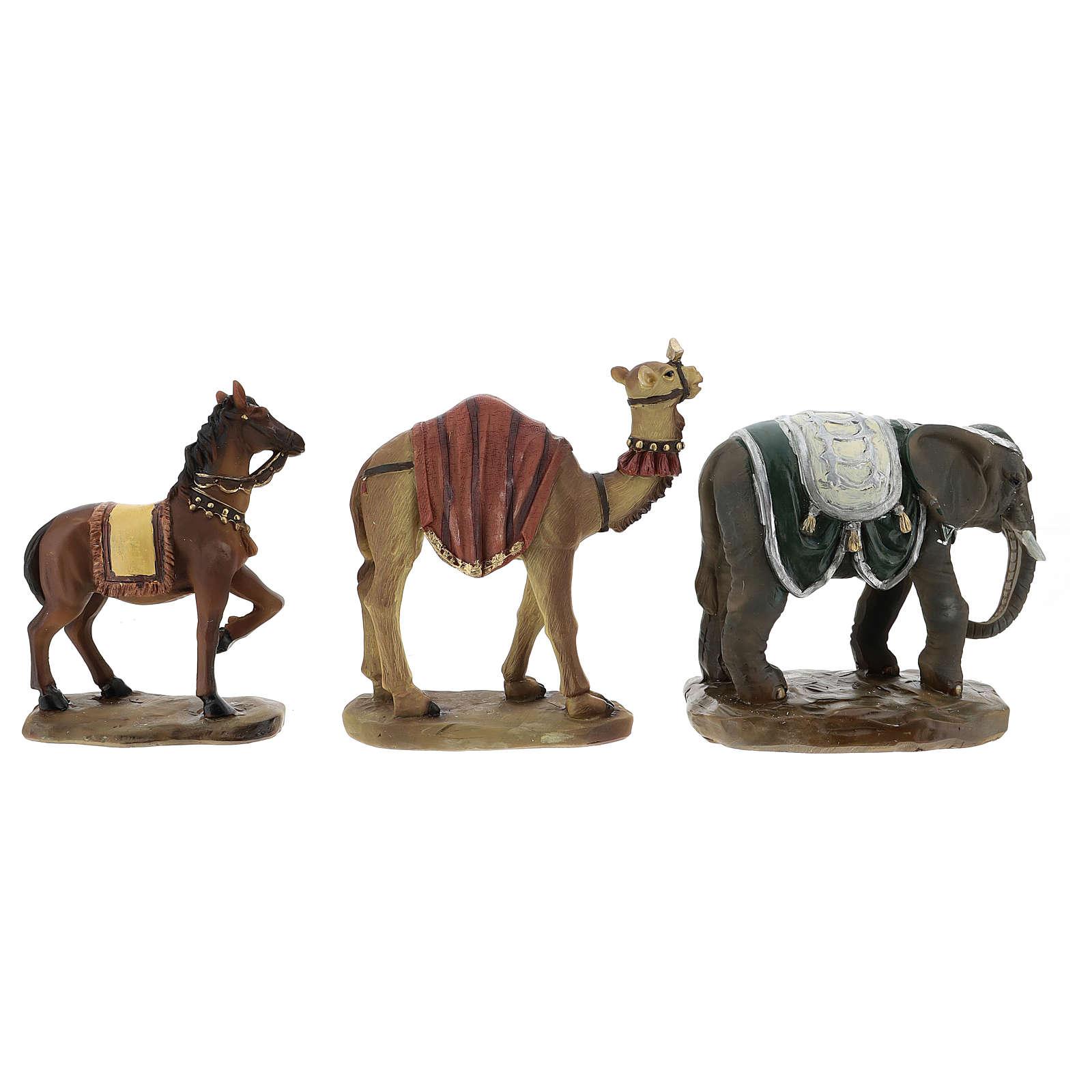 Camello elefante y caballo resina para belén de 11 cm set 3