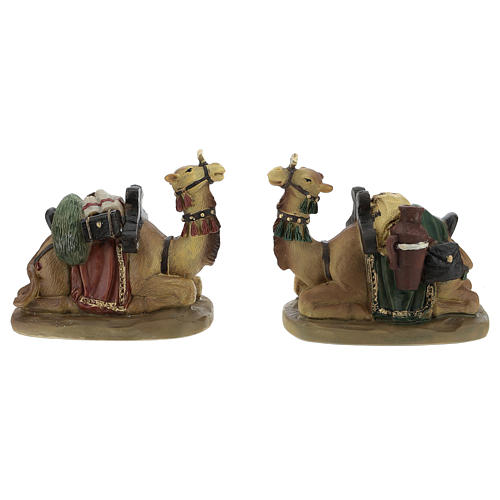 Set of 2 resin camels for Nativity scenes of 11 cm 1