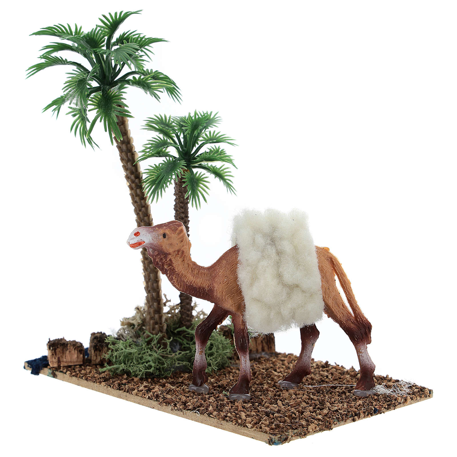 Oasis with palm trees and camel for Nativity scene 10x10x7 cm 3