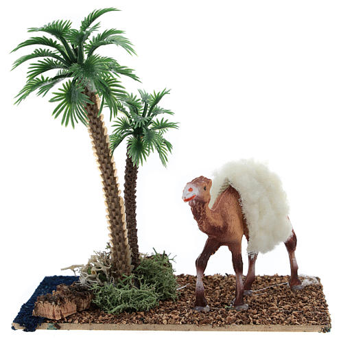 Oasis with palm trees and camel for Nativity scene 10x10x7 cm 1
