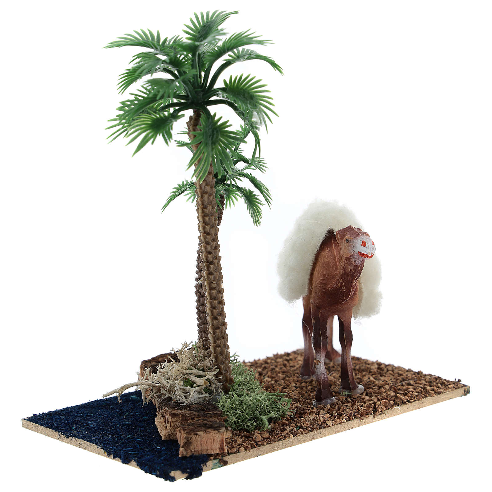 Oasis with palms and standing camel for nativity 10x10x7 cm 3