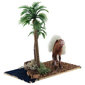 Oasis with palms and standing camel for nativity 10x10x7 cm s3