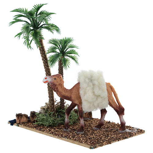 Oasis with palms and standing camel for nativity 10x10x7 cm 2