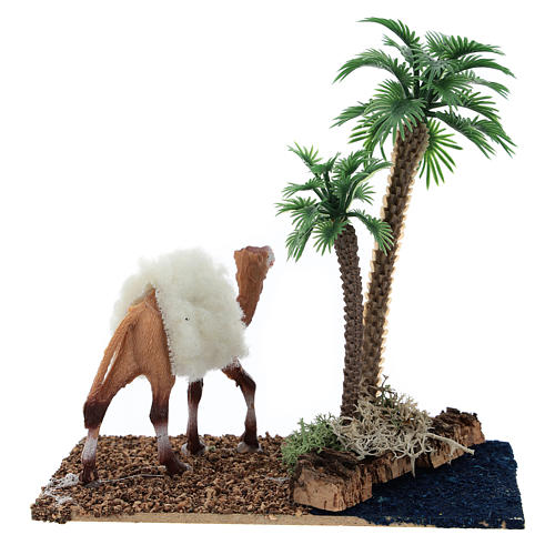 Oasis with palms and standing camel for nativity 10x10x7 cm 4