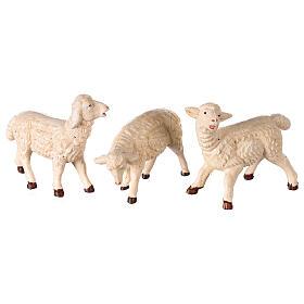 Moutons 3 pcs résine pour crèche 8-10 cm s2