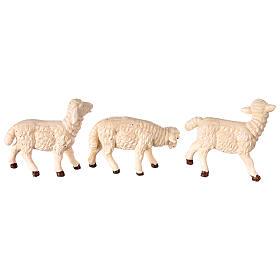 Moutons 3 pcs résine pour crèche 8-10 cm s3
