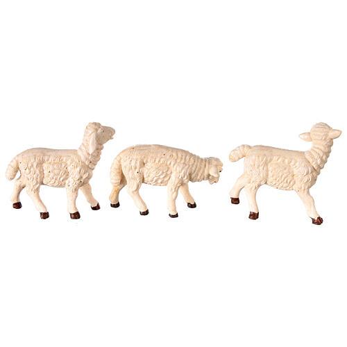 Pecore 3 pz resina per presepe 8-10 cm 3
