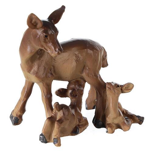 Famille de chevreuils résine pour crèche 10-12-14 cm 2