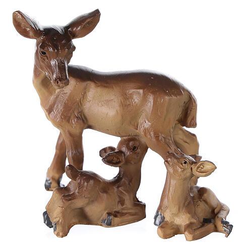 Famiglia di cerbiatti resina per presepe 10-12-14 cm 1