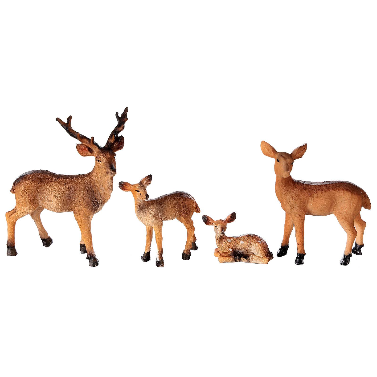 Famille de cerfs 4 pcs crèche 10-12-14 cm 3