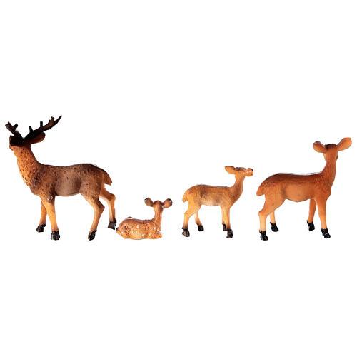 Famille de cerfs 4 pcs crèche 10-12-14 cm 4