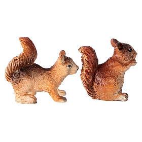 Écureuils 2 pcs pour crèche 8-10-12 cm résine s3