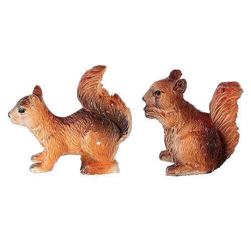 Écureuils 2 pcs pour crèche 8-10-12 cm résine 1