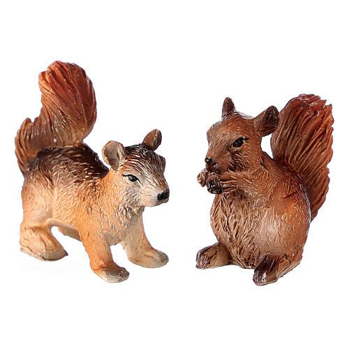 Écureuils 2 pcs pour crèche 8-10-12 cm résine 2