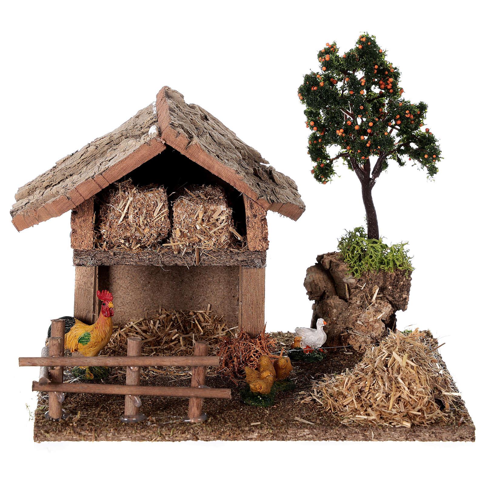 Miniature barn with farmyard for nativity 20x15x15 cm 3