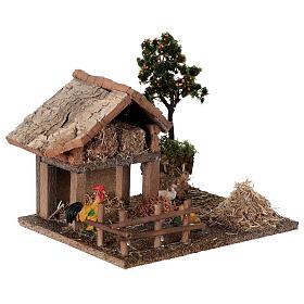 Miniature barn with farmyard for nativity 20x15x15 cm s3