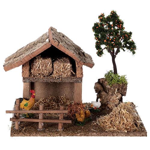 Miniature barn with farmyard for nativity 20x15x15 cm 1