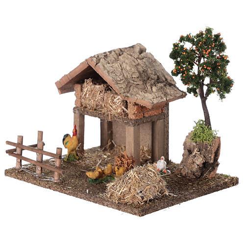 Miniature barn with farmyard for nativity 20x15x15 cm 2