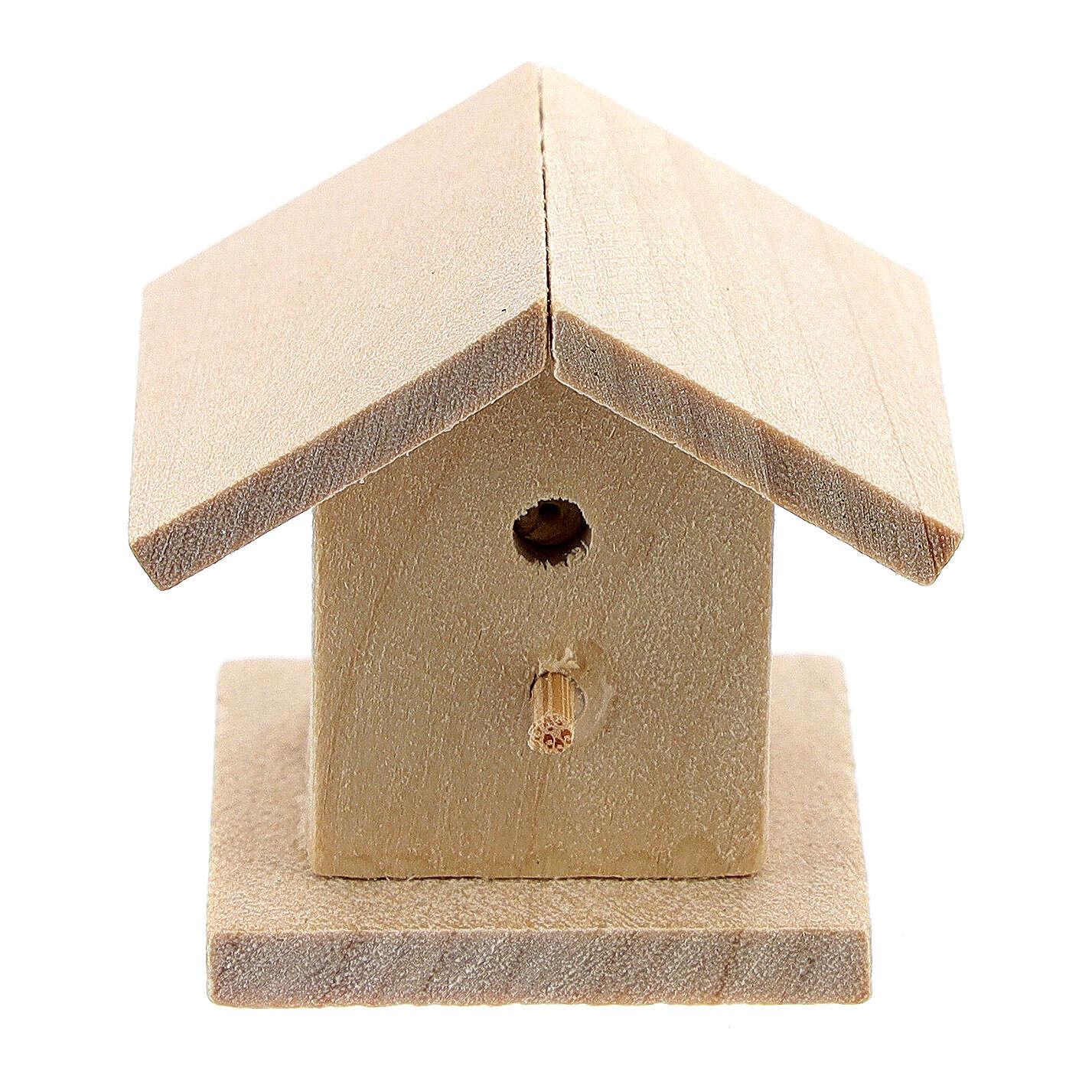 Casetta legno uccelli presepe 8-10 cm 3