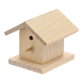 Casetta legno uccelli presepe 8-10 cm s2