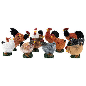 Mini roosters and hens 12 pcs set, 8-10 cm nativity s2