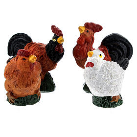 Mini roosters and hens 12 pcs set, 8-10 cm nativity s3