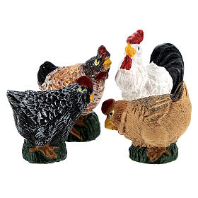 Mini roosters and hens 12 pcs set, 8-10 cm nativity s5
