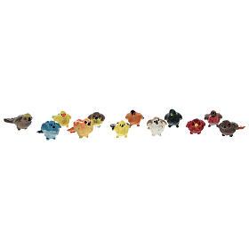 Colorful birds (pack 12 pcs) real h 2 cm Nativity scenes 4-8 cm s1