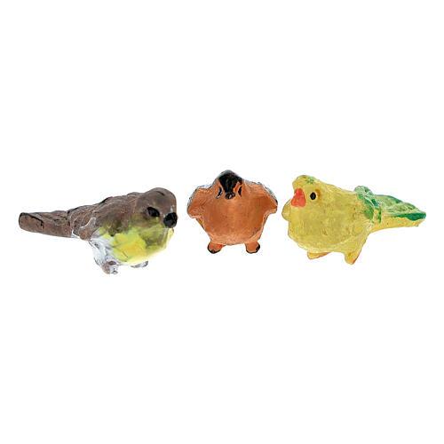 Pajaritos coloreados 12 piezas h real 2 cm belenes 4-8 cm 3