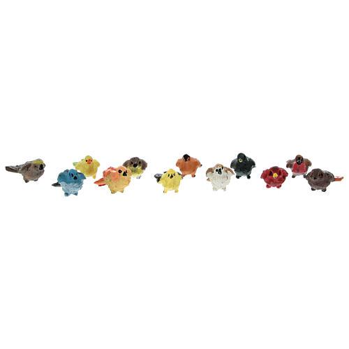Oiseaux colorés 12 pcs h réelle 2 cm crèche 4-8 cm 1