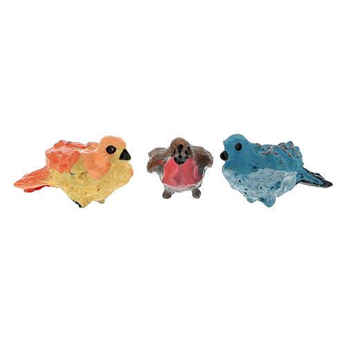 Oiseaux colorés 12 pcs h réelle 2 cm crèche 4-8 cm 2