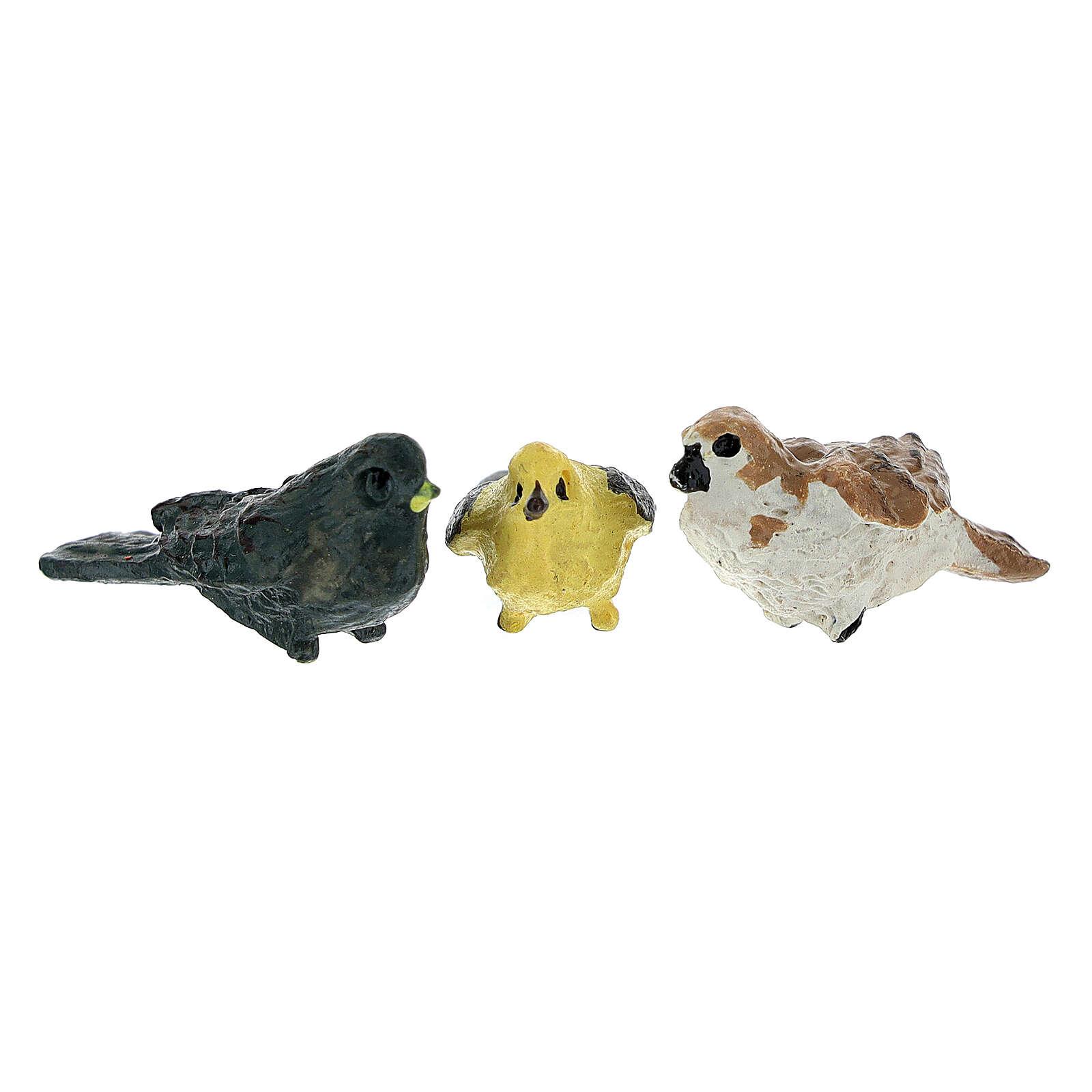 Bird figurines 12 pcs set, real height 2 cm nativity 4-8 cm 3