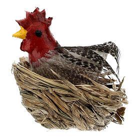 Henne in Nest mit Eiern für Krippe von 10-12 cm s1