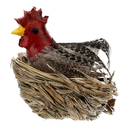 Chicken with nest and eggs Nativity scene 10-12 cm 1