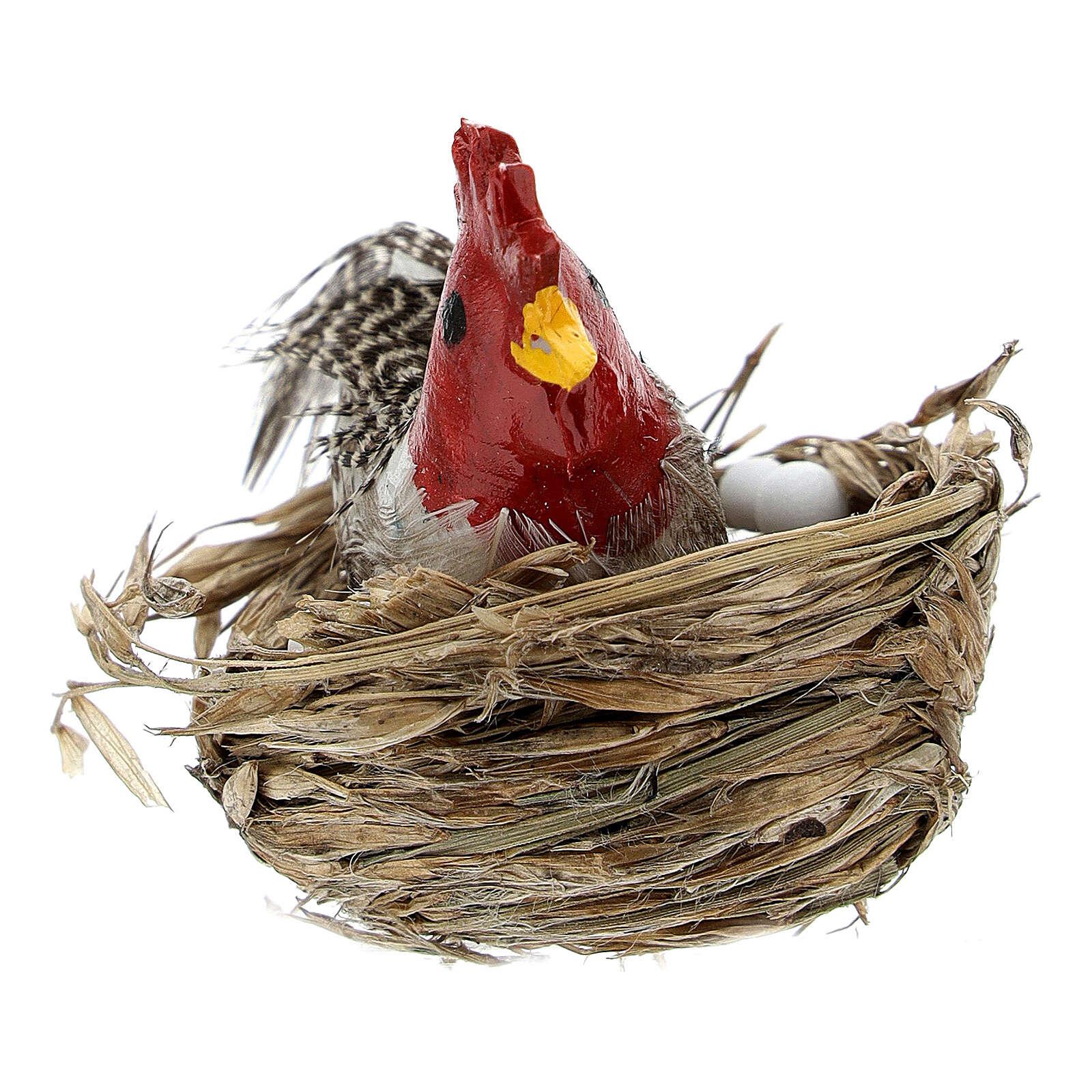 Gallina con nido y huevos belén 10-12 cm 3