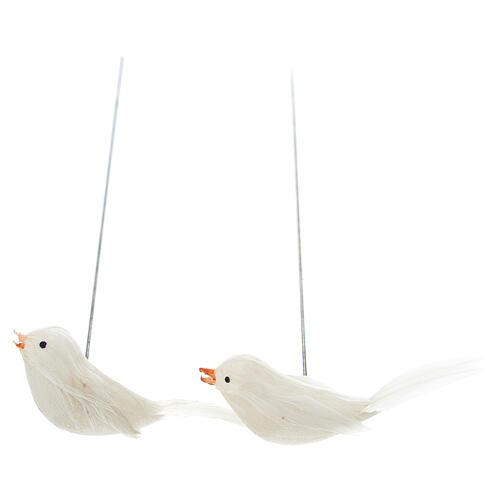 2 coloured birds with nest and eggs Nativity scene 10 cm 4