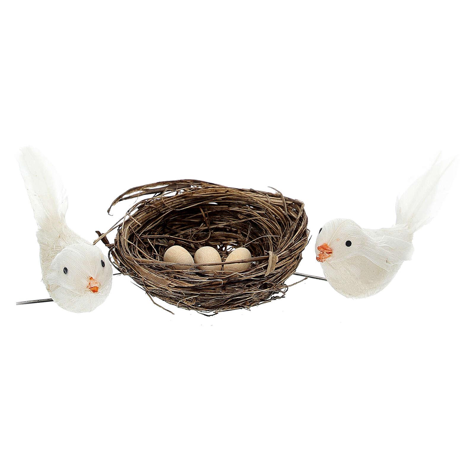2 Pajaritos coloreados con nido y huevos belén 10 cm 3