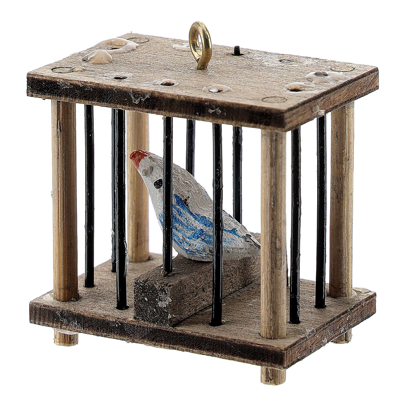 Gabbia quadrata con uccellino presepe 10-12 cm 3
