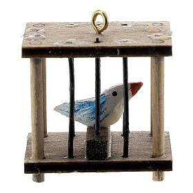 Gabbia quadrata con uccellino presepe 10-12 cm s1