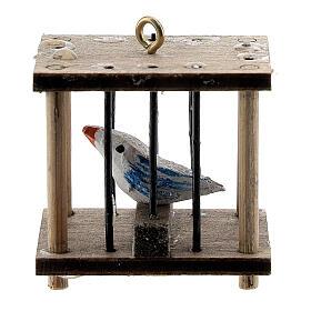 Gabbia quadrata con uccellino presepe 10-12 cm s2
